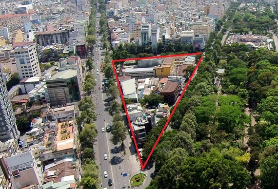 Dự án Khu tam giác Trần Hưng Đạo - Nguyễn Thái Học - Phạm Ngũ Lão có diện tích 1,22 ha tại phường Phạm Ngũ Lão, quận 1 sẽ bi xem xét thu hồi.