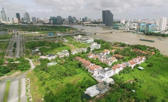 Dự án 4 tuyến đường chính trong Khu đô thị mới Thủ Thiêm. (Ảnh: Quang Nhựt/TTXVN)