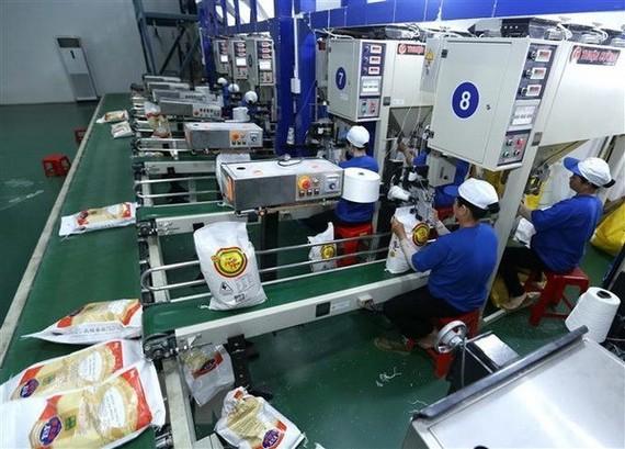 Dây chuyền đóng gói sản phẩm gạo xuất khẩu. (Ảnh: Vũ Sinh/TTXVN)