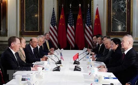 Đại diện Thương mại Mỹ Robert Lighthizer (trái) trong cuộc đàm phán thương mại với Phó Thủ tướng Trung Quốc Lưu Hạc (phải) tại Washington DC., ngày 21/2/2019. (Ảnh: AFP/TTXVN)