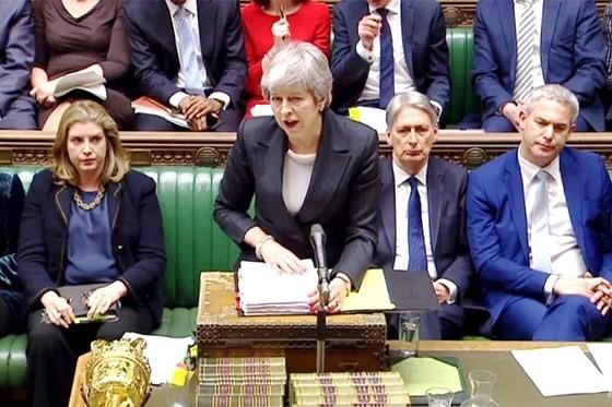 Thủ tướng Anh Theresa May tại phiên họp của Hạ viện ở London