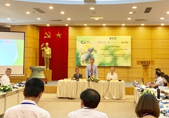 Lễ phát động Chương trình đánh giá, công bố các Doanh nghiệp bền vững Việt Nam 2019.Ảnh:VGP/Huy Thắng.