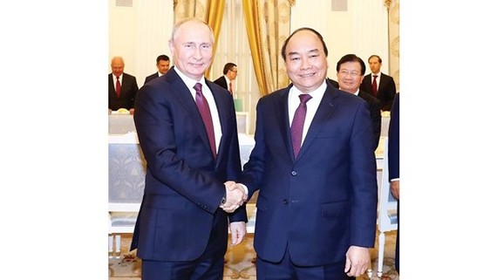 Thủ tướng Nguyễn Xuân Phúc hội kiến Tổng thống Nga Vladimir Putin. Ảnh: TTXVN