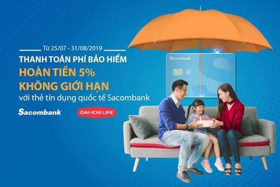 Hoàn 5% tiền phí bảo hiểm Dai-Ichi Life khi thanh toán bằng thẻ tín dụng Sacombank