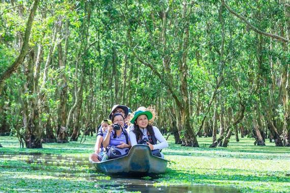 -Du khách xuyên rừng tràm Trà Sư trên những thảm bèo (nguồn ảnh:internet).