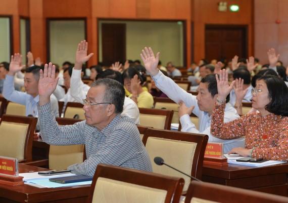 Các đại biểu biểu quyết Nghị quyết kỳ họp sáng nay (11-5). Ảnh: VIỆT DŨNG