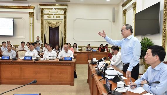 Bí thư Thành ủy TPHCM Nguyễn Thiện Nhân phát biểu tại Hội nghị Sơ kết hợp tác giữa Bộ TT-TT và UBND TPHCM, ngày 16-7-2019. Ảnh: VIỆT DŨNG