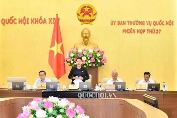Phiên họp thứ 27 của Ủy ban Thường vụ Quốc hội. Ảnh: Quochoi.vn