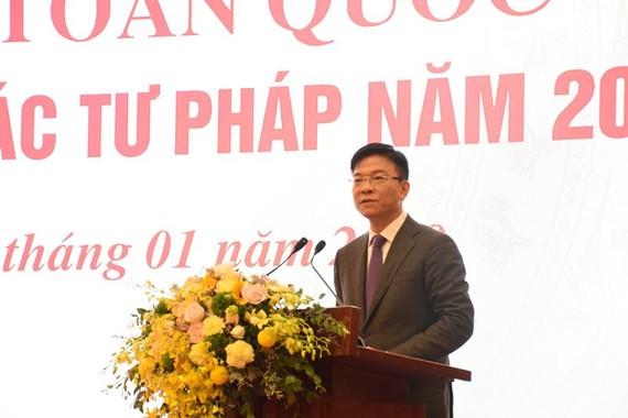 Bộ trưởng Lê Thành Long phát biểu khai mạc Hội nghị toàn quốc triển khai công tác tư pháp