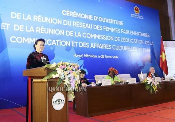 Chủ tịch Quốc hội Nguyễn Thị Kim Ngân phát biểu khai mạc Hội nghị Mạng lưới Nữ nghị sĩ, Hội nghị Ủy ban Giáo dục, Truyền thông và Văn hóa của Liên minh Nghị viện Pháp ngữ (APF)