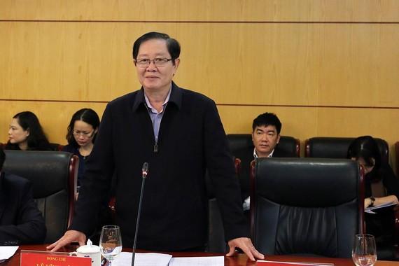 Bộ trưởng Bộ Nội vụ Lê Vĩnh Tân, Tổ trưởng Tổ công tác phát biểu tại cuộc làm việc với Bộ TN-MT