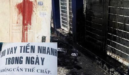 """Nhà người dân bị các đối tượng """"xã hội đen"""", cho vay nặng lãi khủng bố bằng sơn, dầu nhớt, mắm tôm..."""