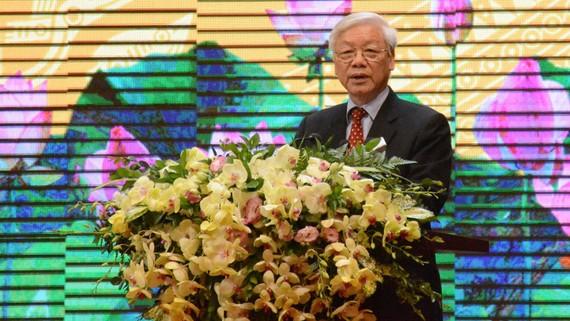 Tổng Bí thư Nguyễn Phú Trọng phát biểu tại lễ kỷ niệm 60 năm ngành Xây dựng
