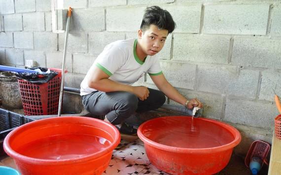 Nước sinh hoạt trên các xã phường tại Hội An vừa yếu, vừa nhiễm nặm. Ảnh: NGỌC PHÚC