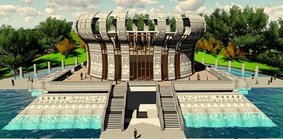 Phối cảnh công trình chính Đền thờ các Vua Hùng tại Cần Thơ được thiết kế theo hình trống đồng. Ảnh:  TUẤN QUANG