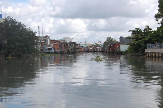 Hàng loạt tuyến kênh trên địa bàn huyện Bình Chánh ô nhiễm nghiêm trọng. Ảnh QUỐC HÙNG