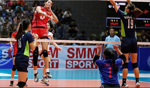 Vietnam (in red) beat Chinese Taipei to take Asian Women's U23 Volleyball Championship bronze medal (Photo: asianvolleyball.net)