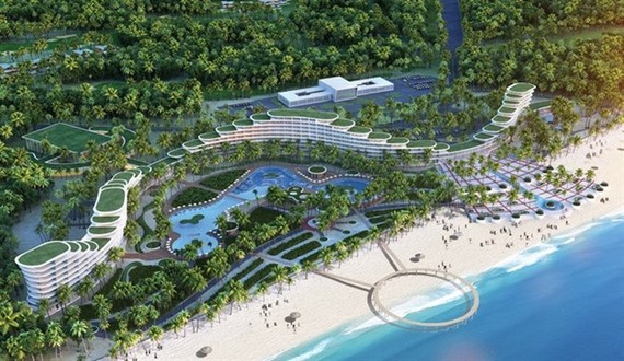 An overview of FLC Luxury Hotel ​Quy Nhon in ​Binh Dinh province - one of the projects for which FLC Faros Construction Corporation (ROS) is the main contractor. (Photo: FLC)