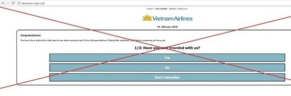 Vietnam Airlines warns flyers of social-media free ticket scam. (Photo: VNA)