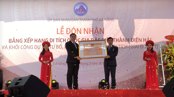 The ceremony receiving the certificate in recognition of Dien Hai citadel as a national special relic