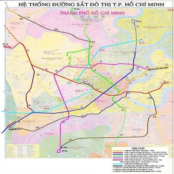 Ho Chi Minh City metro project map (Source: baoxaydung.com.vn)