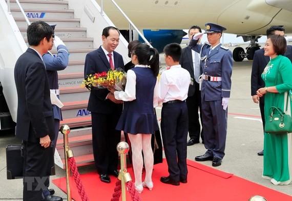 President Tran Dai Quang was greeted at the Haneda International Airport (Photo: VNA)