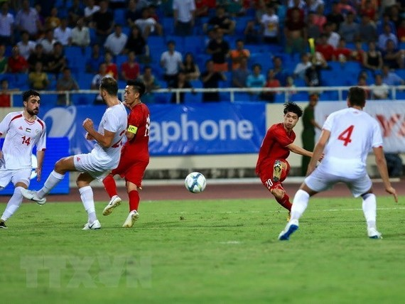 Vietnam beats Palestine 2-1 at the U23 International Championship - Vinaphone Cup 2018 tournament. (Photo: VNA)