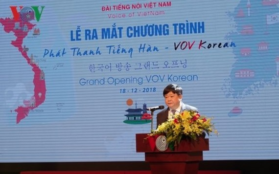 Director General of the VOV Nguyen The Ky speaks at the launching ceremony (Photo VOV)