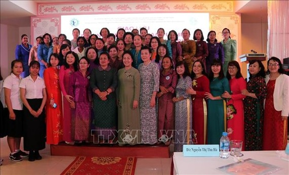 Delegates at the exchange between the Vietnam Women's Union (VWU) and the Cambodian Women for Peace and Development (CWPD) (Photo: VNA)
