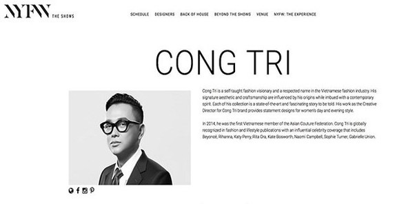 Designer Nguyen Cong Tri to come back to New York Fashion Week this September