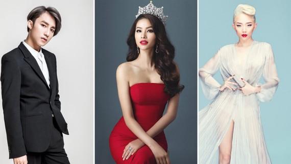 Sơn Tùng, Tóc Tiên hội ngộ Phạm Hương trong đêm bán kết Hoa hậu Hoàn vũ Việt Nam