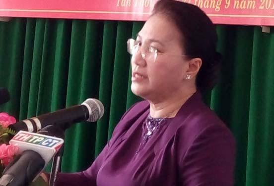 Chủ tịch Nguyễn Thị Kim Ngân trả lời ý kiến cử tri Cần Thơ vào sáng 27-9