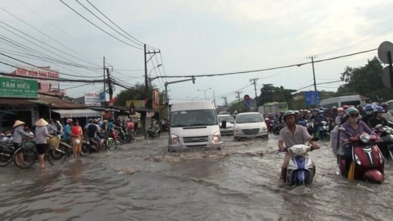 Downpour floods the city roads