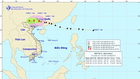 Position of typhoon Hato