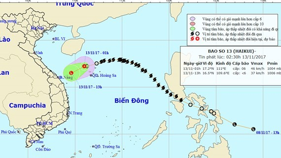 Position of the tropical low pressure system in sea (Photo: NHMFC)