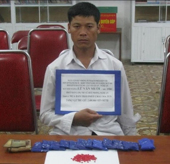 37 year old Lu Van Muoi is nabbed for smuggling synthetic drugs (photo: SGGP)