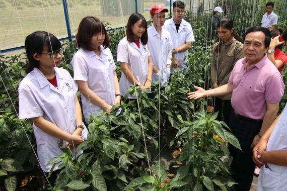 PGS-TS Nguyễn Mạnh Hùng, Hiệu trưởng Trường ĐH Nguyễn Tất Thành thăm sinh viên đang thực hành tại Trung tâm Nông nghiệp công nghệ cao tỉnh Đak Nông