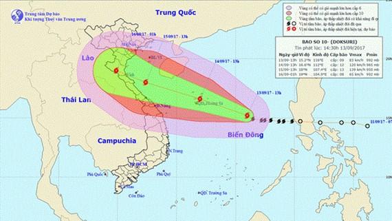 Đường đi và vị trí cơn bão (Nguồn: nchmf.gov.vn)