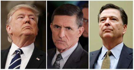 Từ trái sang : Tổng thống Mỹ Donald Trump, cựu Cố vấn An ninh quốc gia Michael Flynn, cựu Giám đốc FBI James Comey