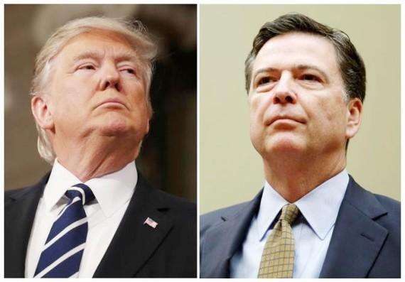 Tổng thống Mỹ Donald Trump (trái) và Giám đốc Cục Điều tra Liên bang (FBI) James Comey. Ảnh: REUTERS
