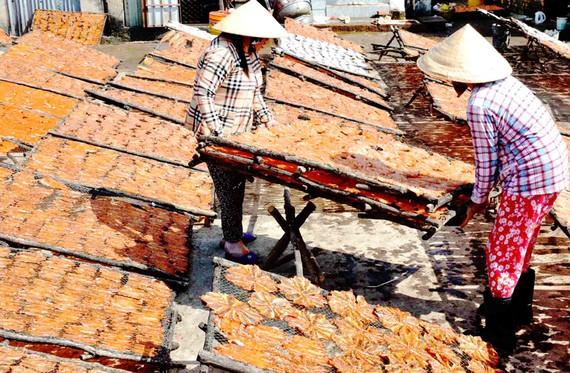 Sản xuất tôm khô ở cơ sở sản xuất của bà Nguyễn Thị Ánh, phường Tô Châu, thị xã Hà Tiên