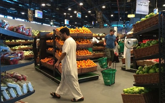 Customers are seen shopping at the al-Meera market in the Qatari capital Doha, on June 10, 2017.