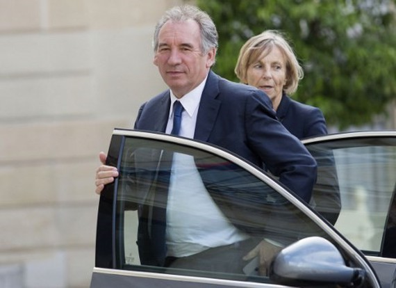 France's justice minister Francois Bayrou (centre) and Minister of European Affairs Marielle de Sarnez.