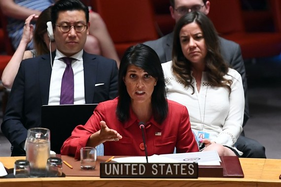 US Ambassador to the United Nations Nikki Haley speaks during a Security Council meeting on North Korea at the UN headquarters in New York on Wednesday. — AFP/VNA