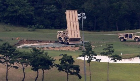 A THAAD missile launcher is positioned at a former golf course in Seongju, North Gyeongsang Province, in this undated file photo. (Yonhap)