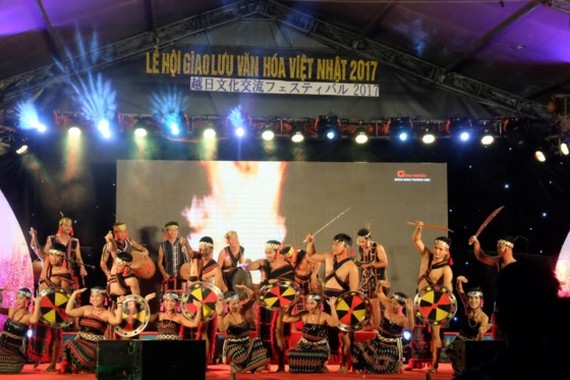 Vietnamese dancers demonstrate traditional Co Tu (an ethnic group) dance