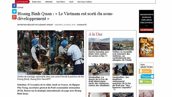 Trang mạng tờ l'Humanité của Pháp đăng bài về chuyến thăm của Tổng Bí thư Nguyễn Phú Trọng
