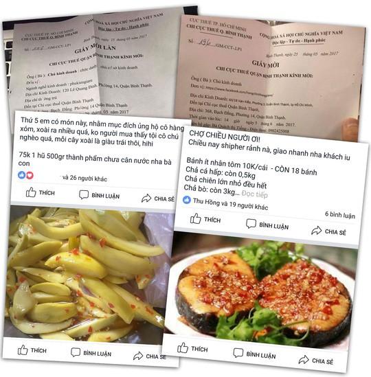 Thư mời các chủ tài khoản Facebook kê khai hoạt động kinh doanh của Chi cục Thuế quận Bình Thạnh. Ảnh dưới: Một số sản phẩm đang được rao bán trên Facebook.