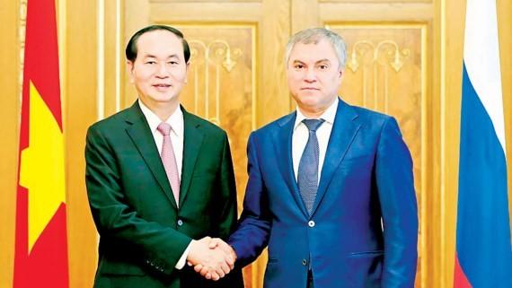 Chủ tịch nước Trần Đại Quang hội kiến Chủ tịch Duma Quốc gia Nga Vyacheslav Volodin