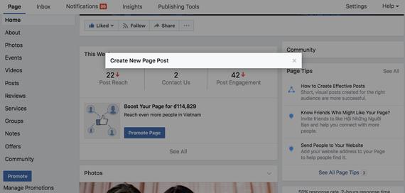 Phần quản trị trong một trang fanpage của Facebook đã không còn xuất hiện thanh trạng thái tạo bài viết mới